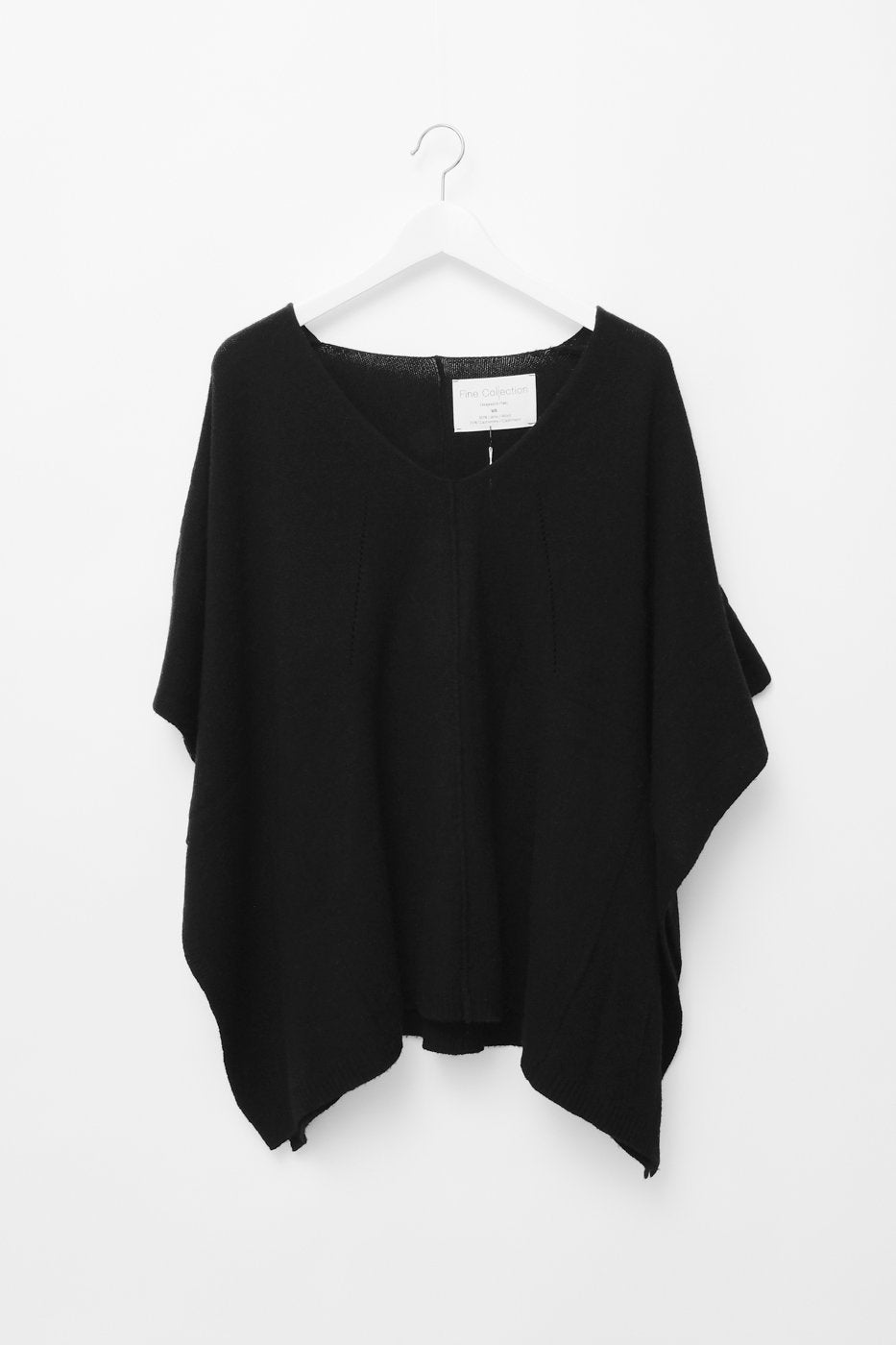 0322_WOOL CASHMERE BLACK PONCHO CAPE