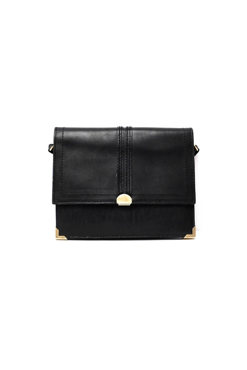 0074_VINTAGE SMALL BLACK CLEAN LEATHER BAG