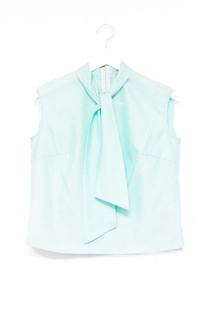 0582_BOW PALE BLUE VINTAGE BLOUSE