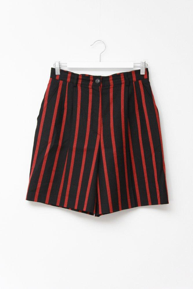 0701_VINTAGE STRIPED HIGH WAIST WOOL SHORTS