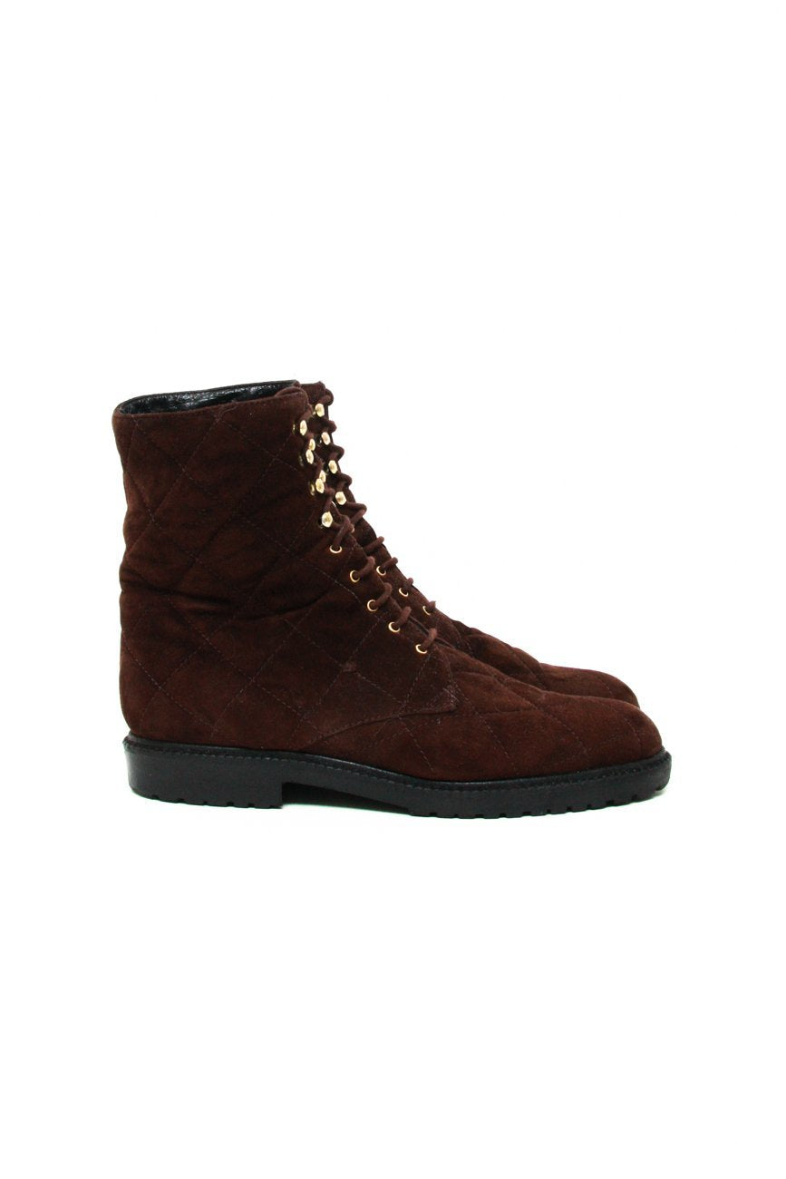 0678_SUEDE 37 BROWN LACE UP BOOTS