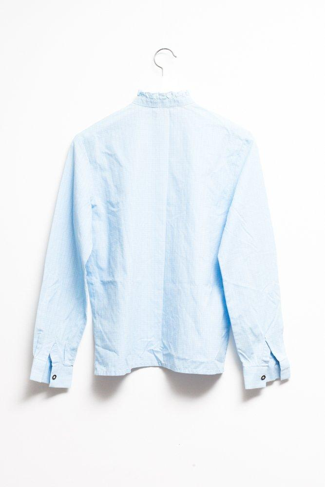 0609_VINTAGE PALE BLUE HIGH NECK BLOUSE