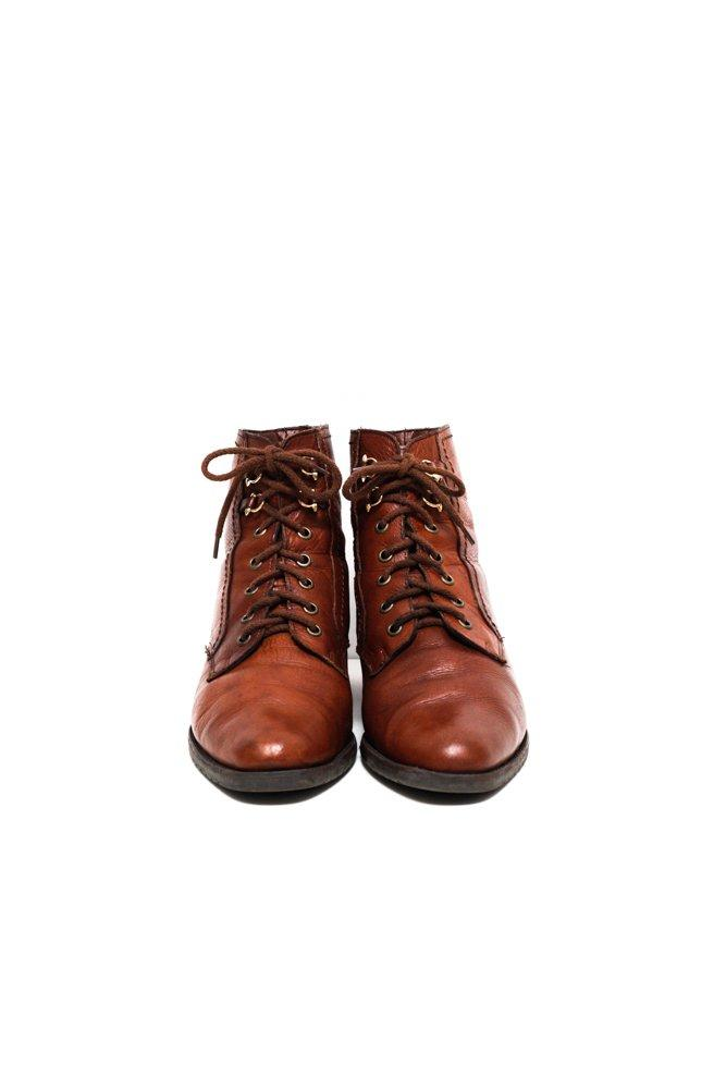 0619_VINTAGE 40 LEATHER COGNAC LACE UP BOOTS