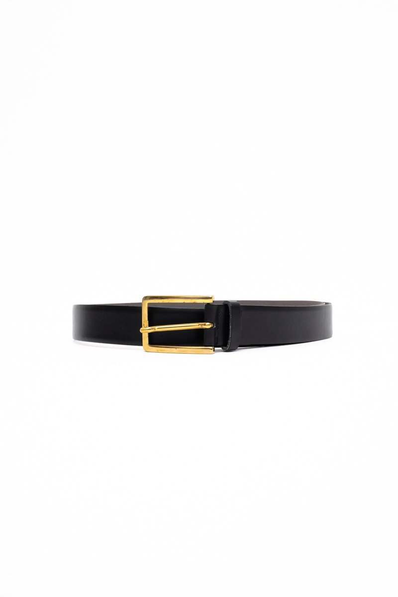 0553_CLEAN M PURISTIC BLACK GOLD LEATHER BELT