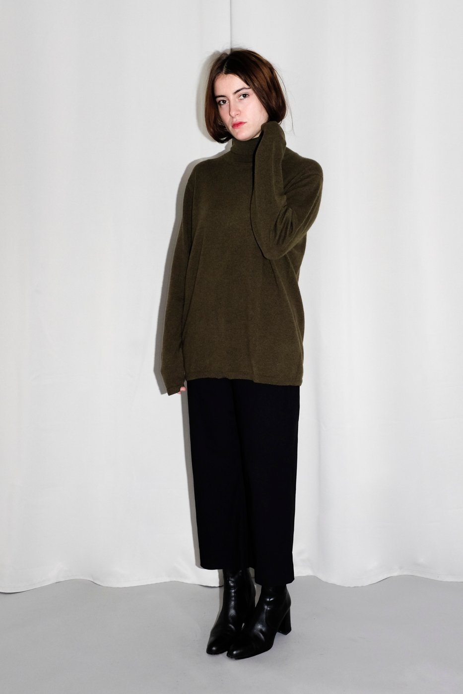 0342_CASHMERE KHAKI GREEN LONG KNIT