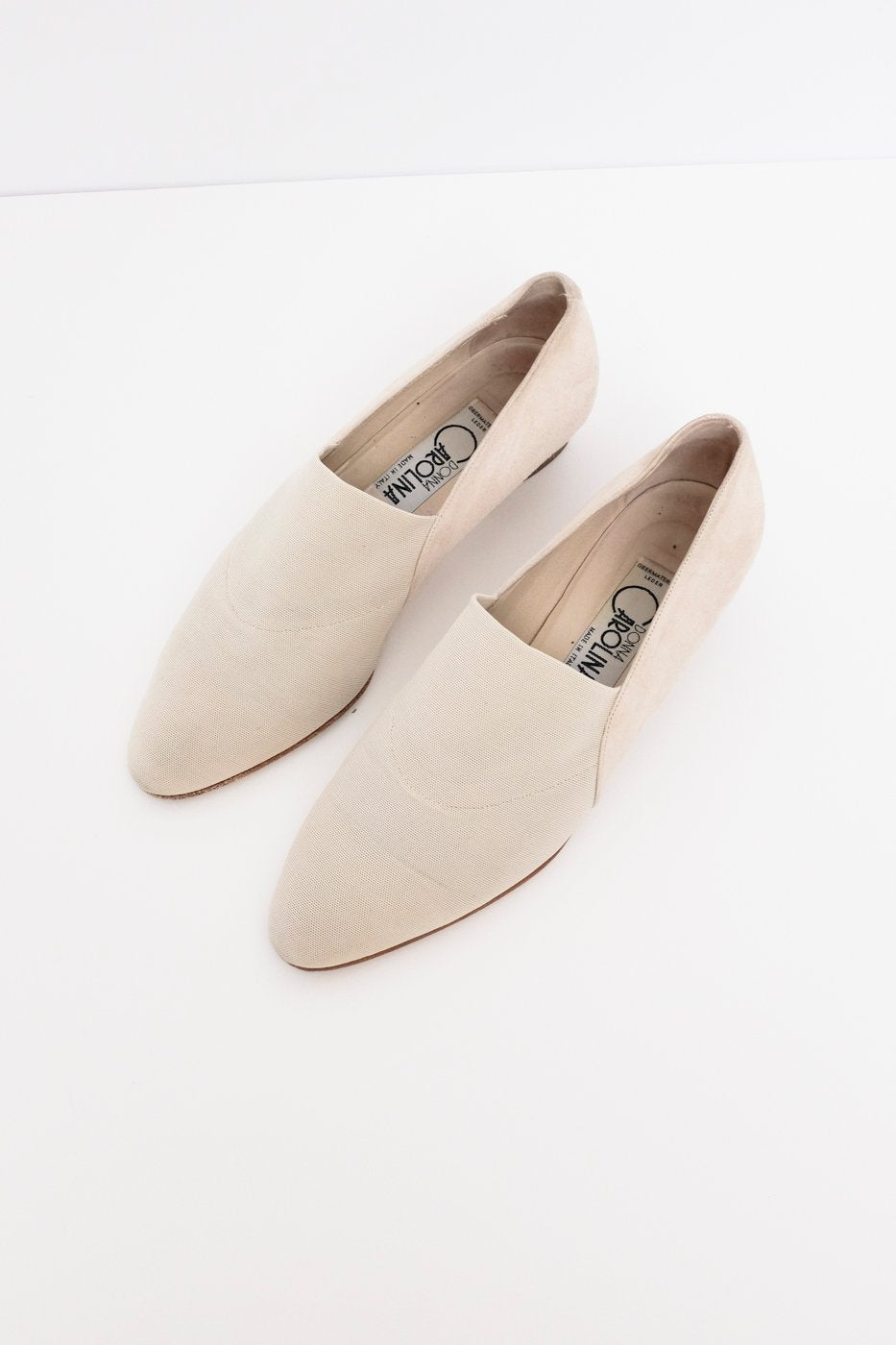 0421_CREAM SUEDE SLIPPER 39 WITH WOOD HEEL