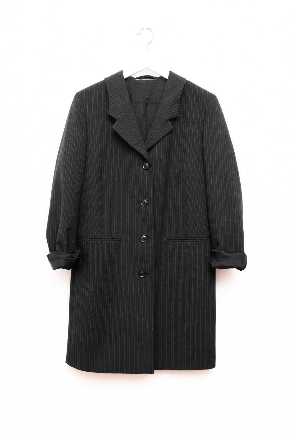 0386_PINSTRIPES COAT BLAZER BLACK