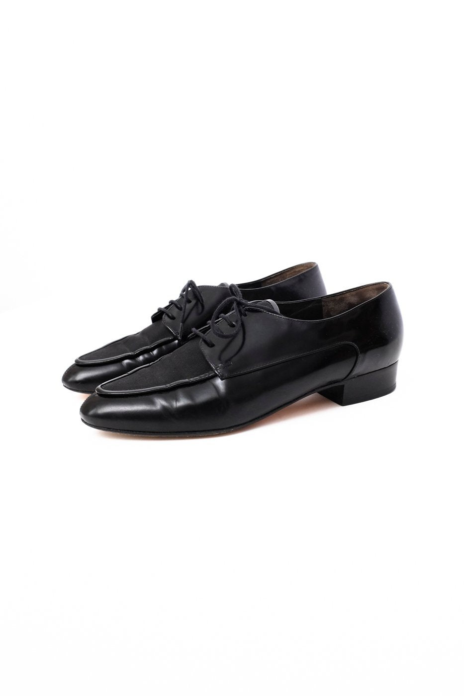 0391_POINTY BLACK PATENT LEATHER LACE UP SHOES 38