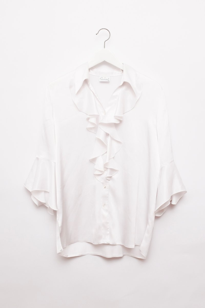 0239_VOLANTS SATIN WHITE VINTAGE BLOUSE