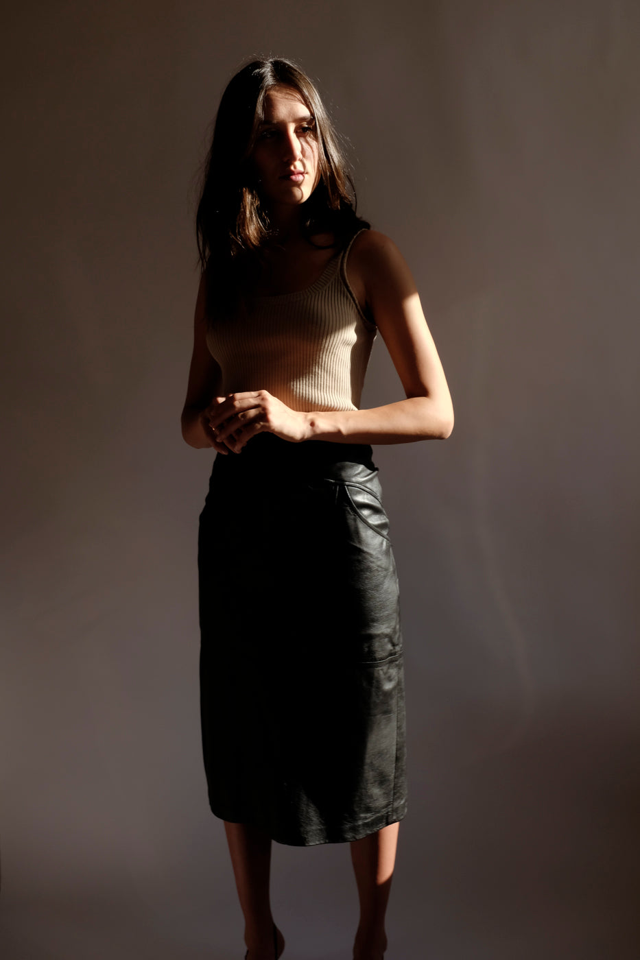 0007_LEATHER HIGH WAIST MIDI SKIRT
