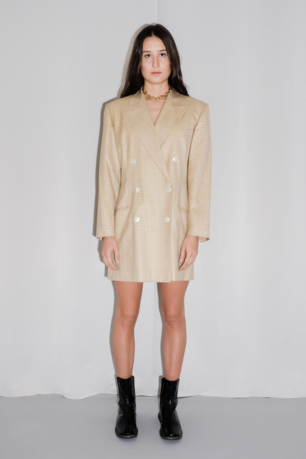 0017_CREAM SILK WOOL TARTAN OVERSIZED BLAZER