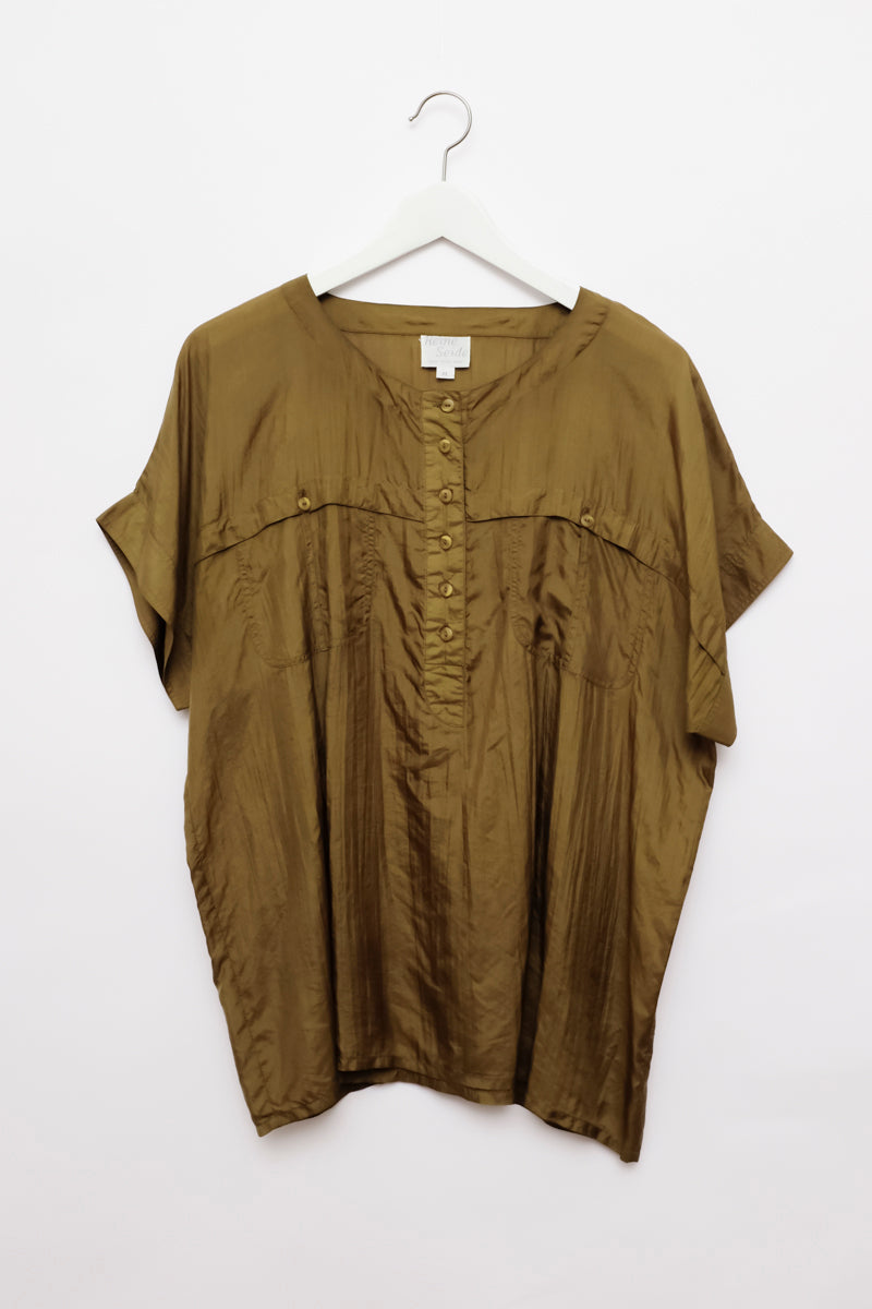 0001_SILK KHAKI BROWN BLOUSE