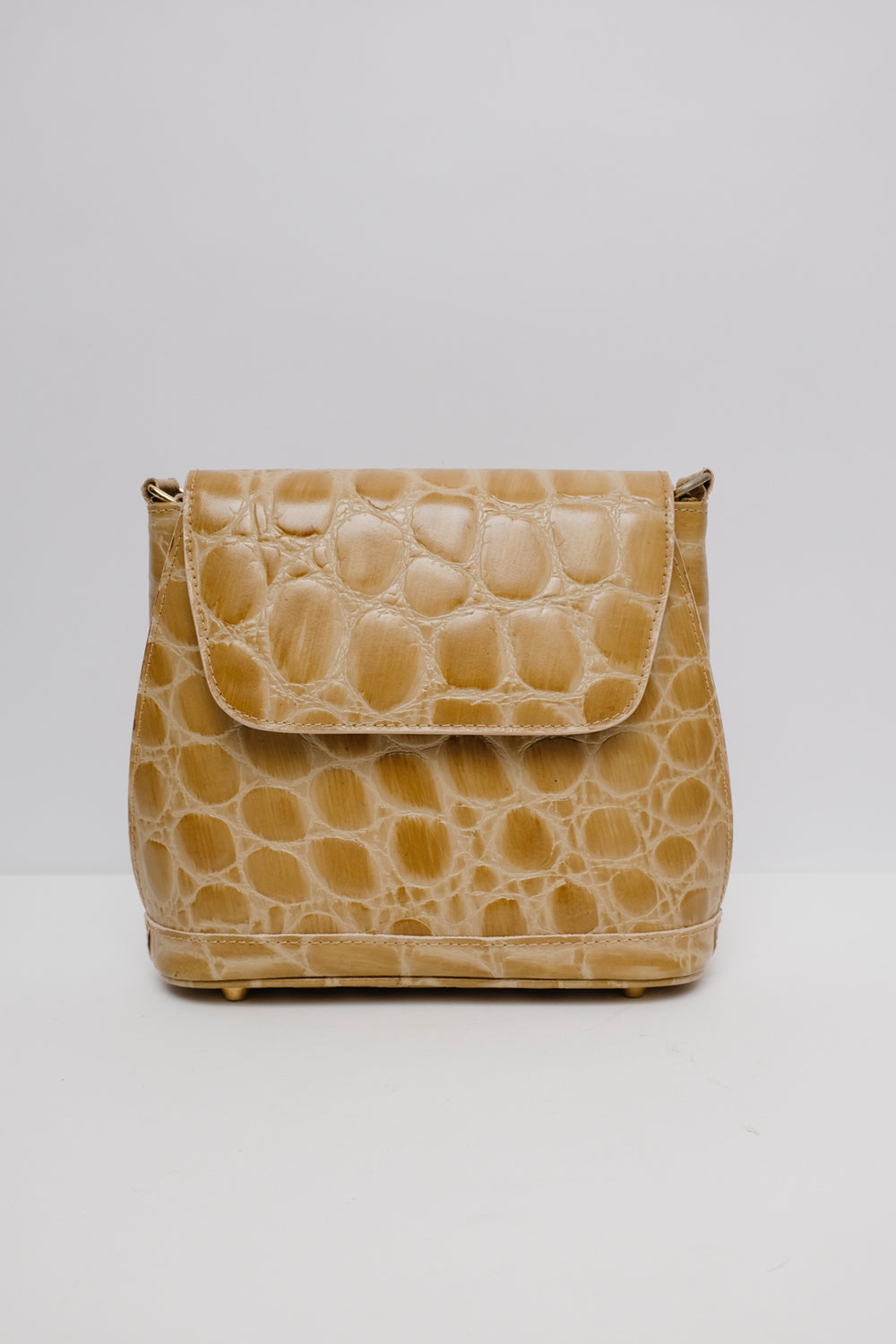 0001_BEIGE CROCO LEATHER BAG