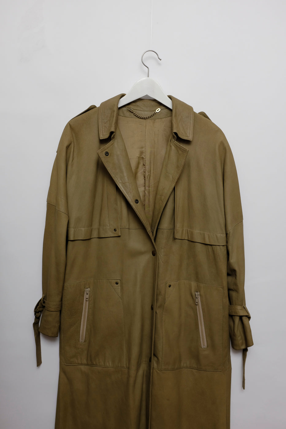 0010_VINTAGE KHAKI LEATHER TRENCHCOAT