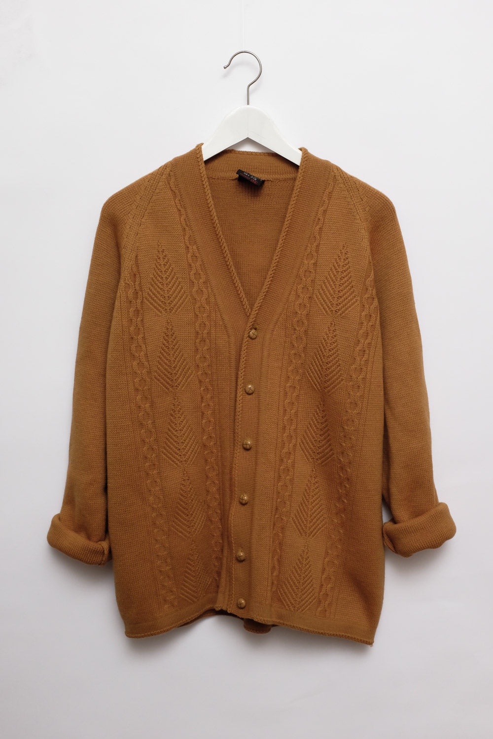 0017_CAMEL WOOL CHUNKY CABLE KNIT CARDIGAN