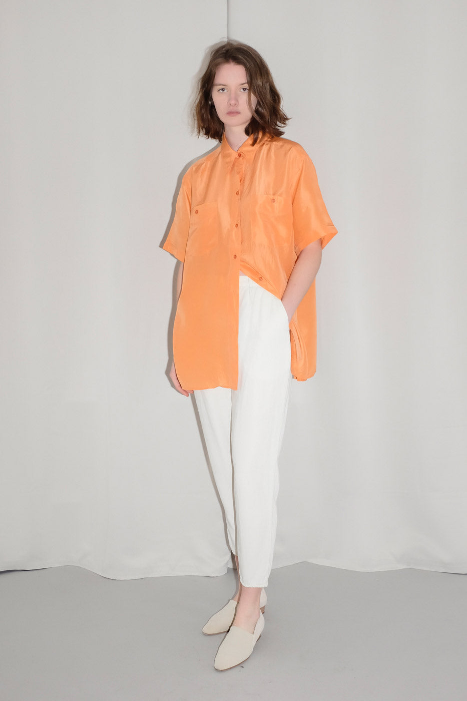 0012_SILK ORANGE OVERSIZE BLOUSE