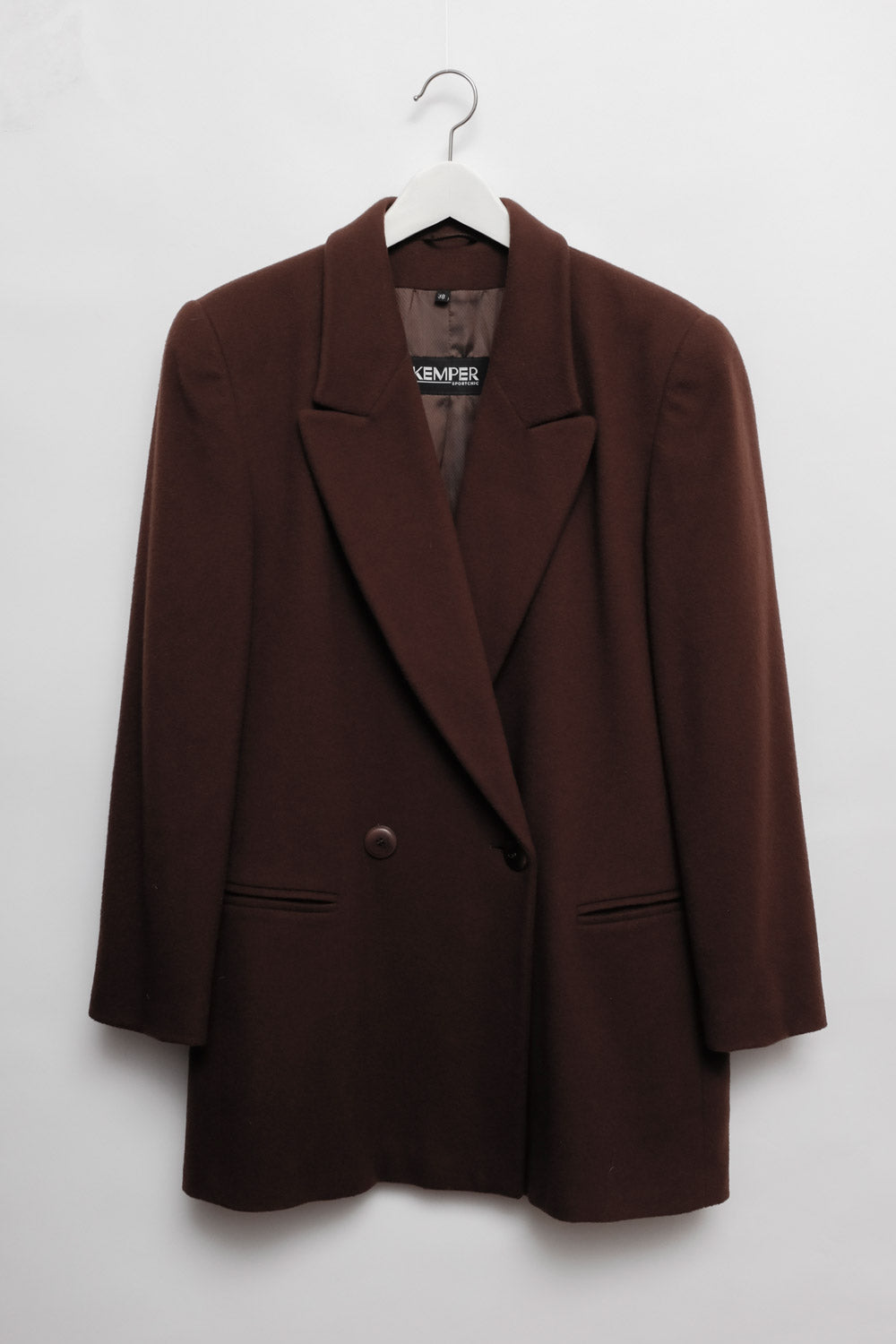 0017_WARM BROWN LONG WOOL BLAZER