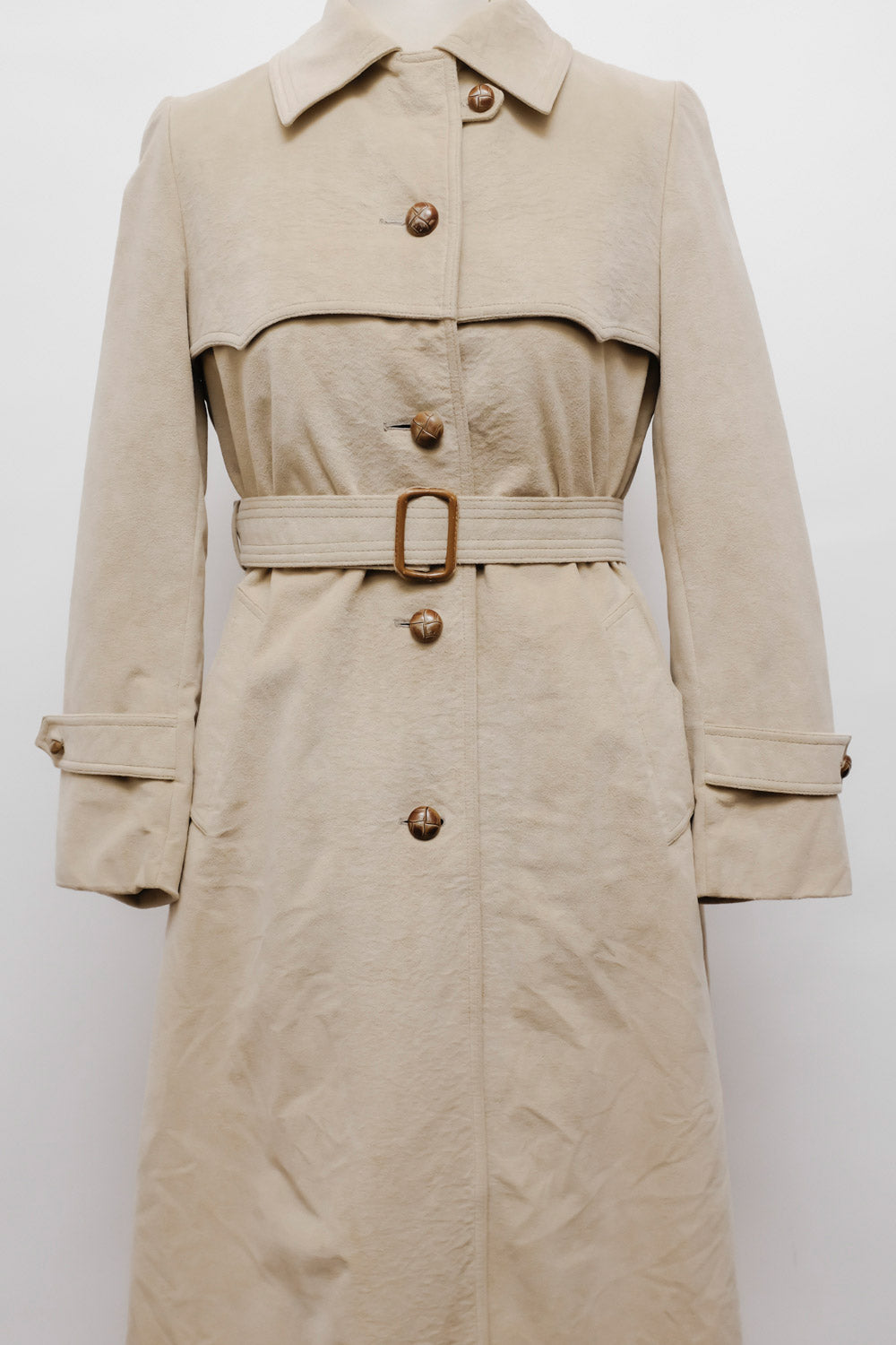 0017_VINTAGE WARM WOOL FAUX SUEDE TRENCH COAT