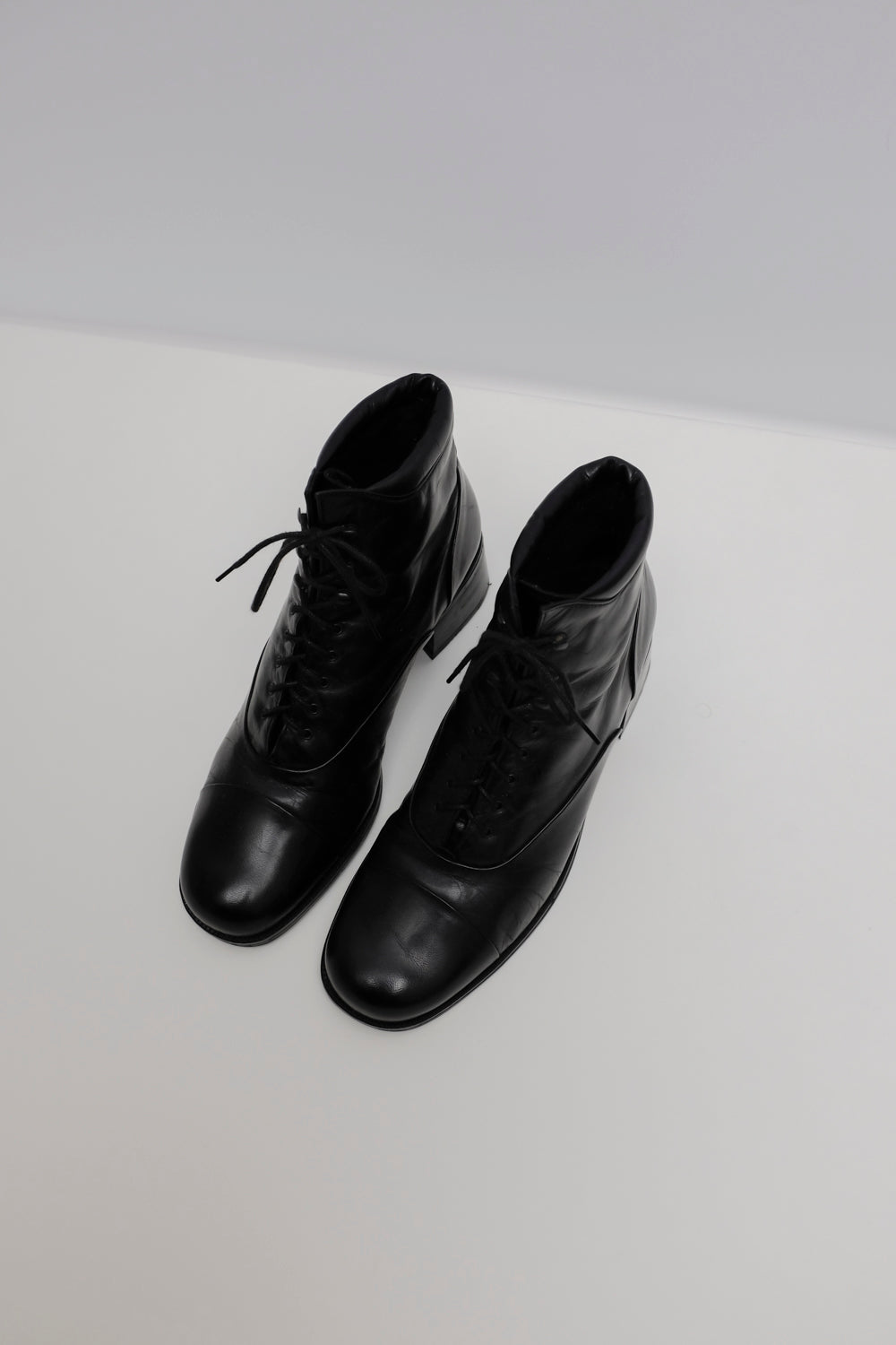 0017_BLACK WARM LEATHER LACE UP 38 BOOTS