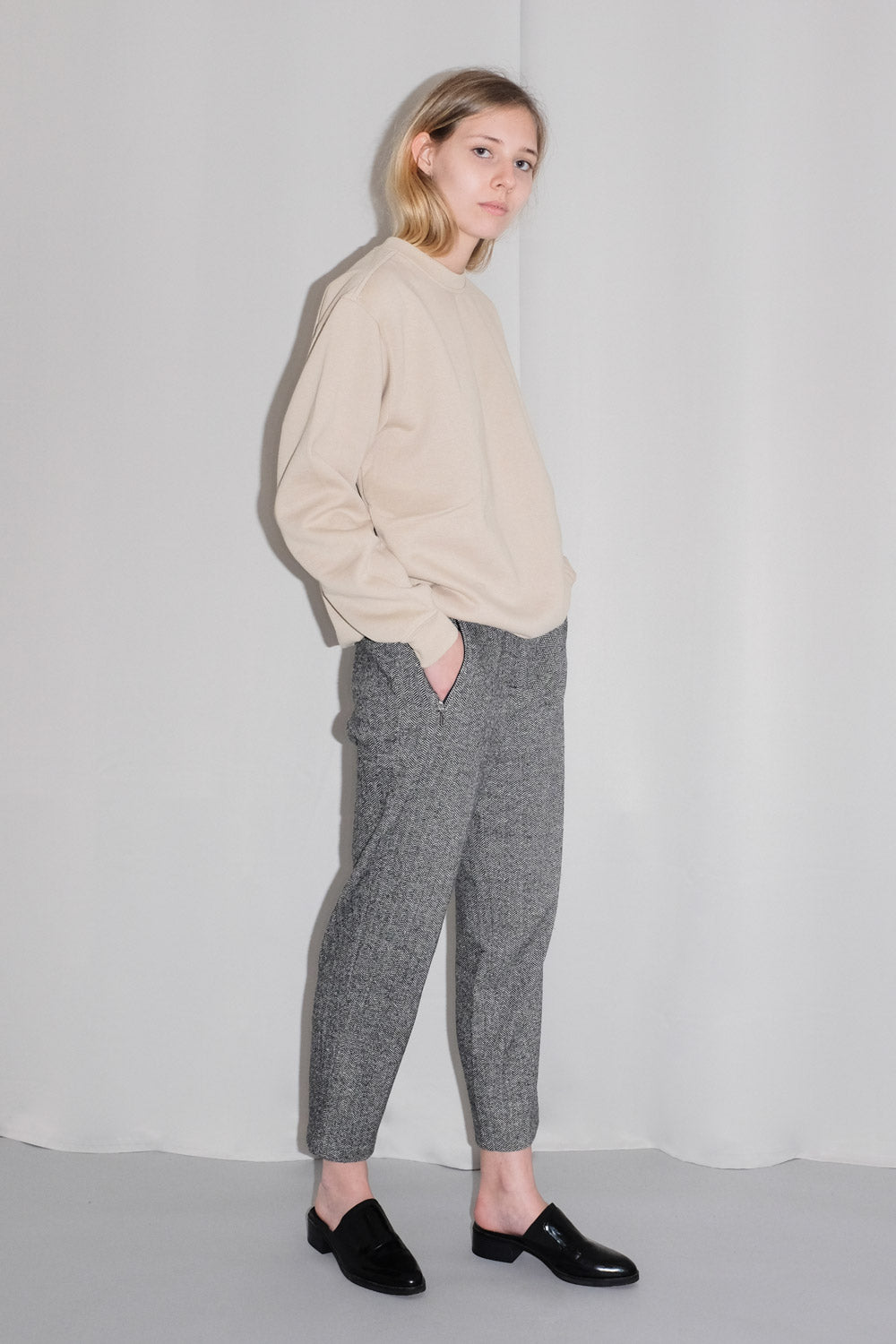 0017_HERRINGBONE WOOL SILK PANTS
