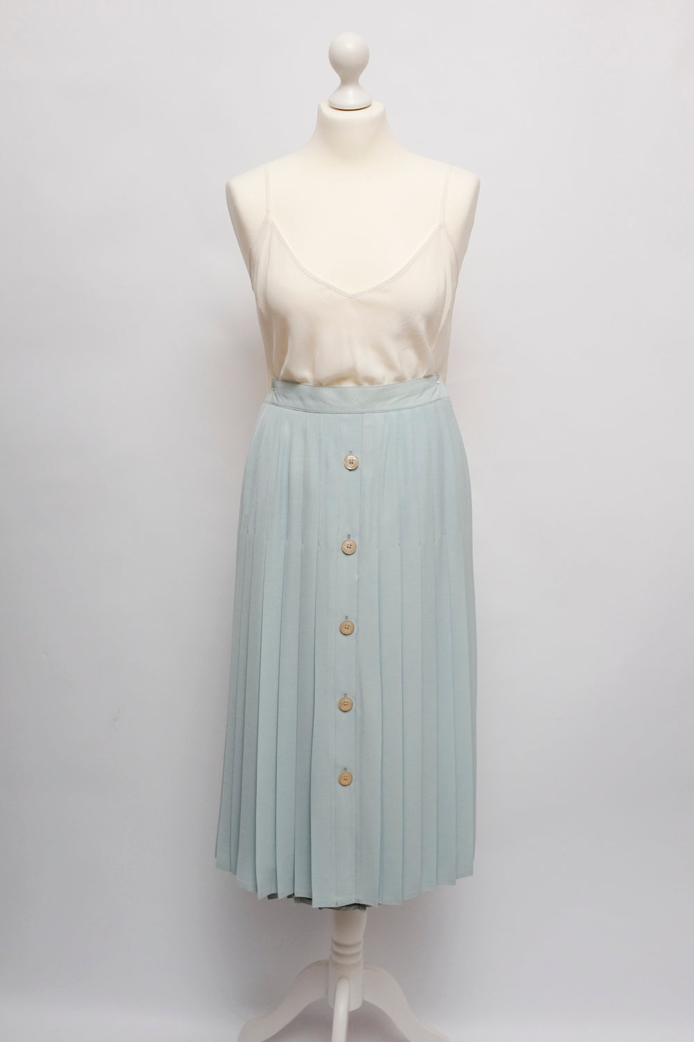 0015_PLEATED PALE BLUE MIDI SKIRT