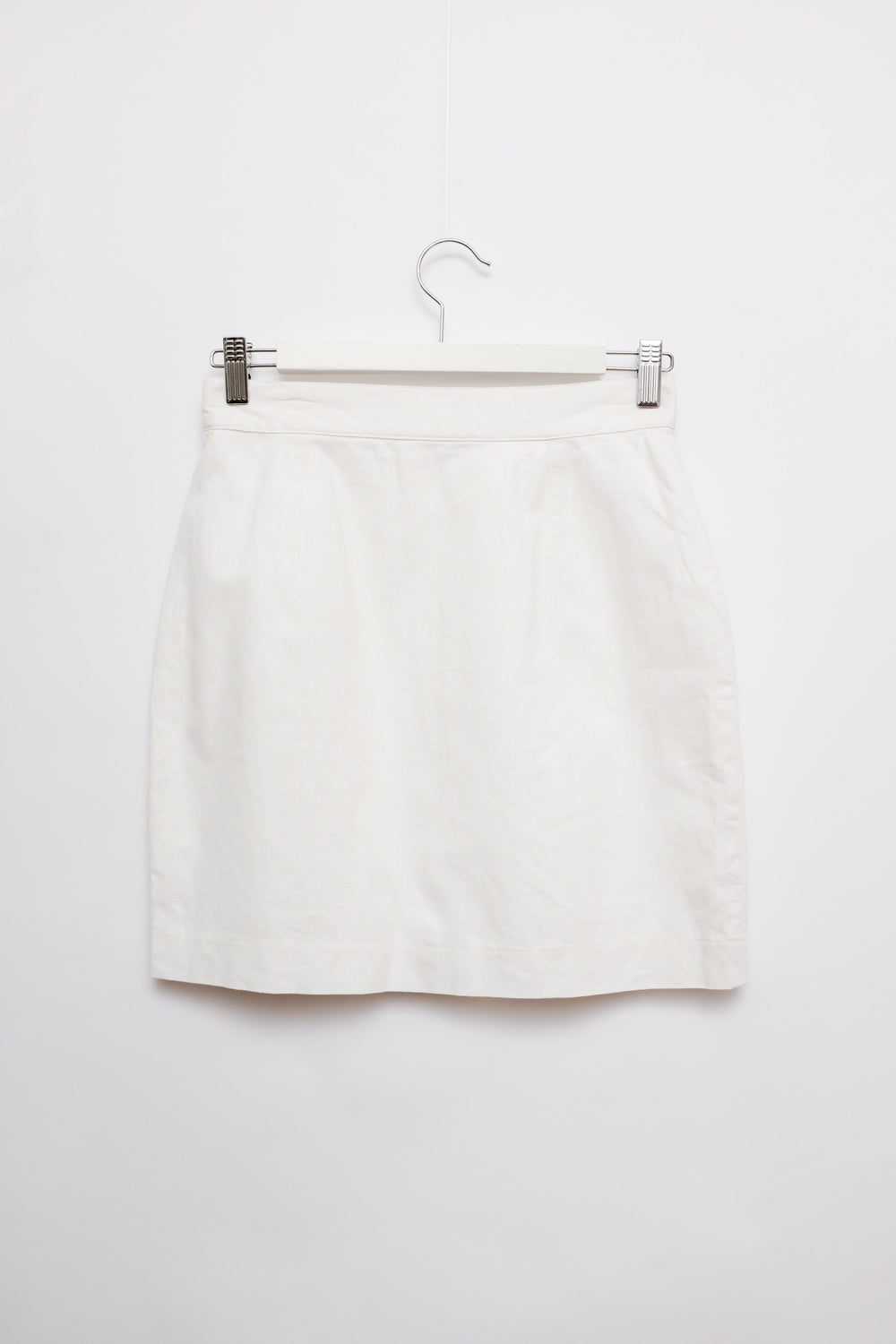 0015_WHITE LINEN COTTON MINI SKIRT