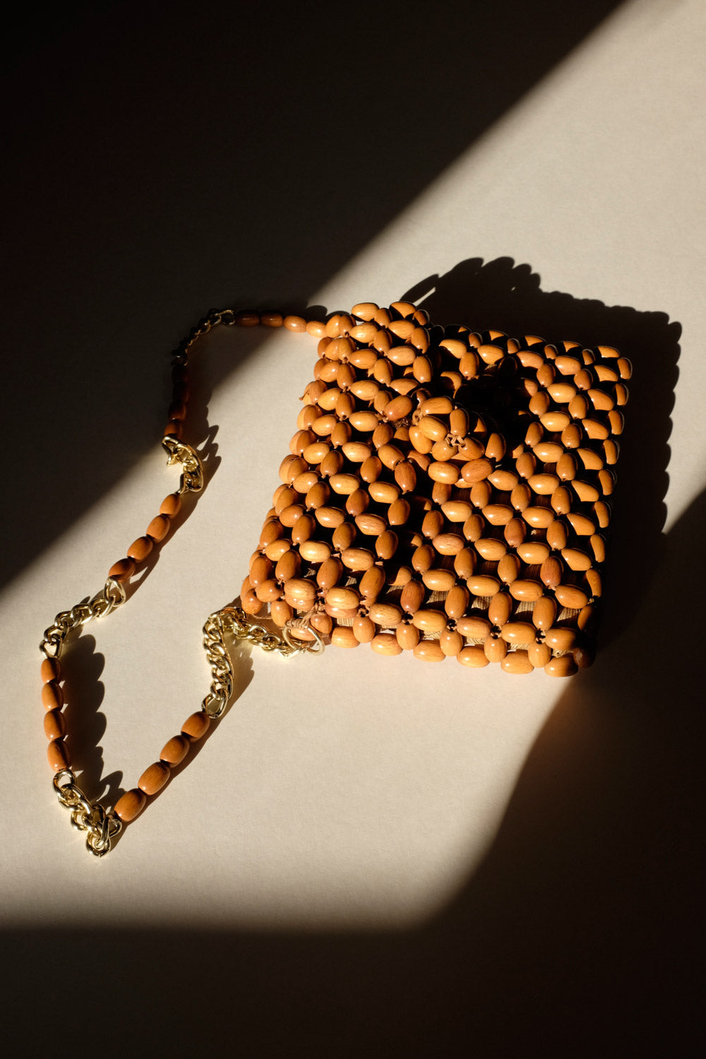 0018_VINTAGE WOOD BEADED BAG