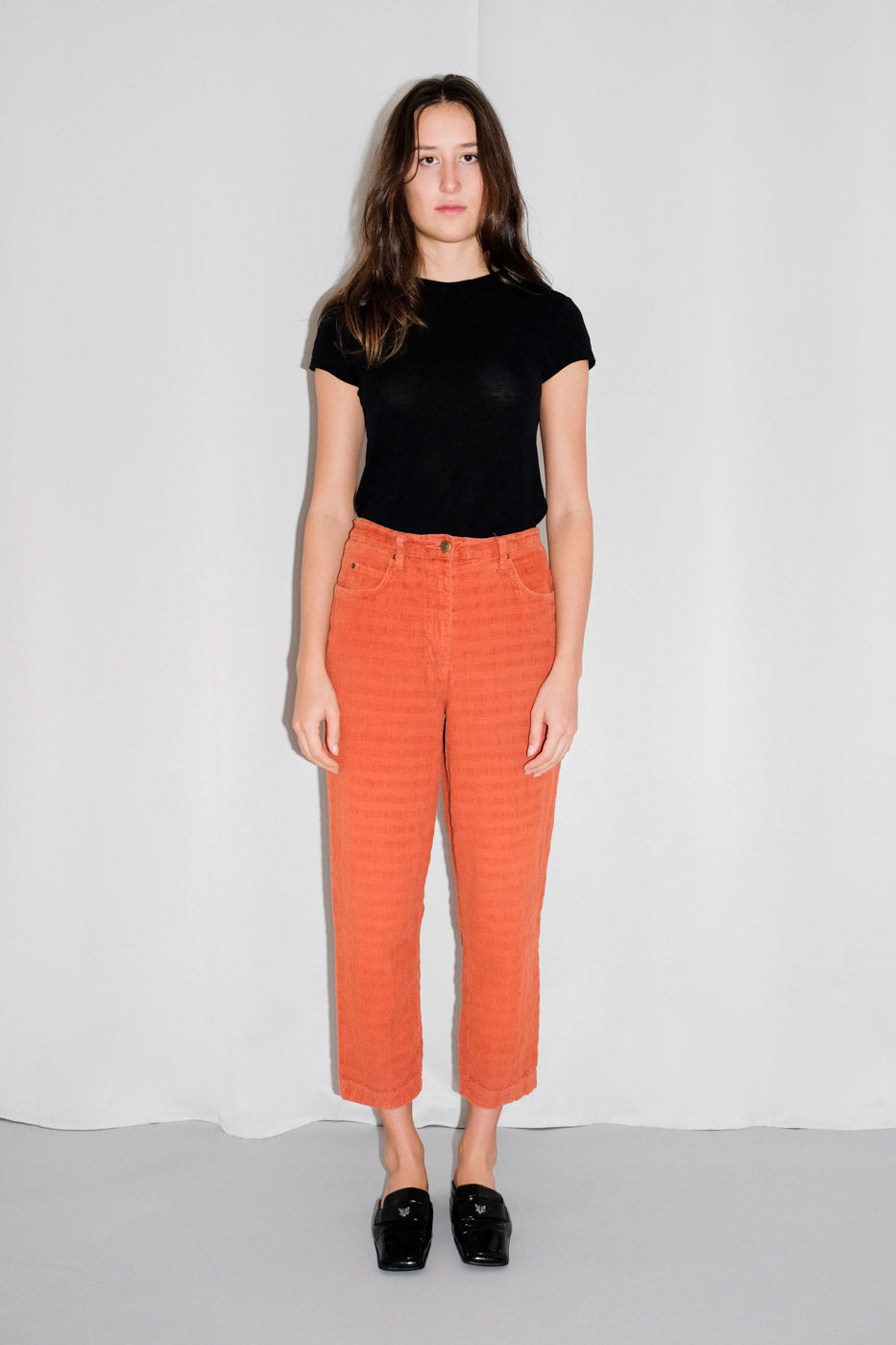 0009_ORANGE CHECKED CORDUROY PANTS