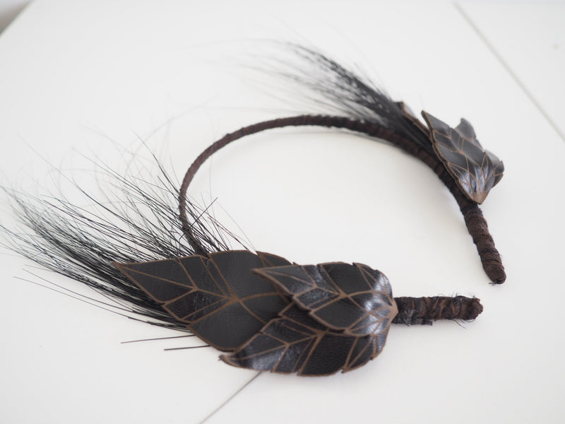 Black leather field crown