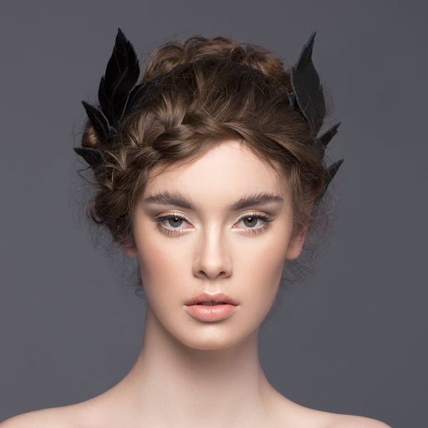 Black leather ferne crown