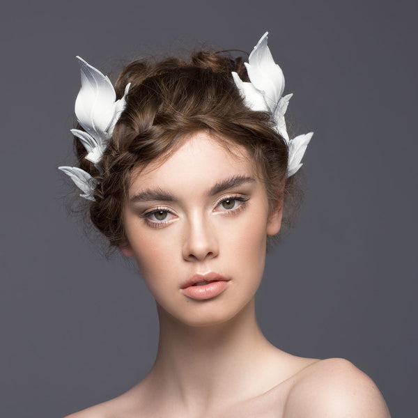 Ivory leather ferne crown