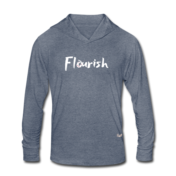 Flourish Hooded LS Tee - heather blue