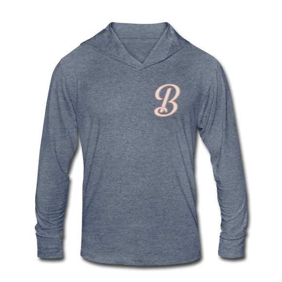 B Hooded LS Tee - heather blue