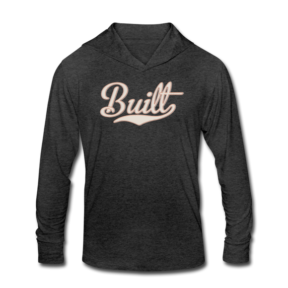 BUILT HOODED LS TEE - heather black