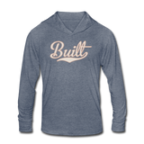 BUILT HOODED LS TEE - heather blue