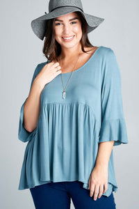 ANTIQUE BLUE TUNIC TOP