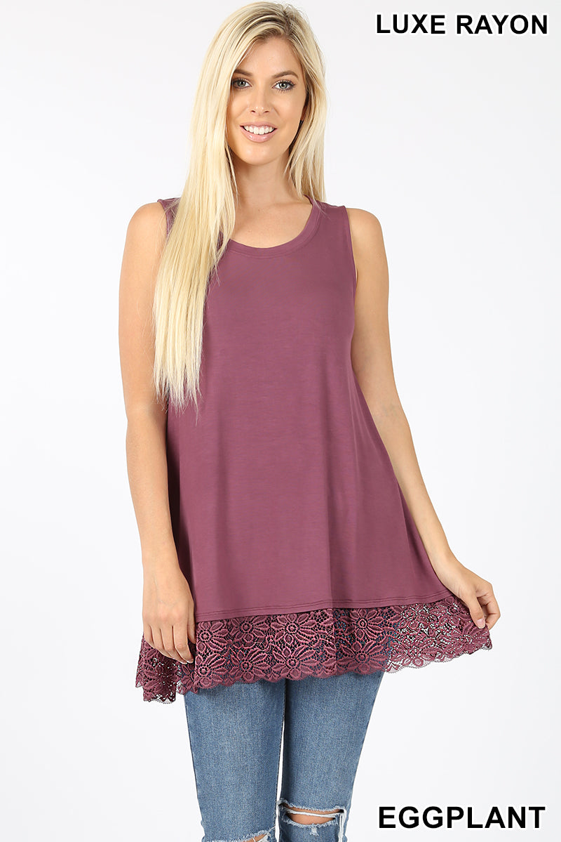 SLEEVELESS TUNIC WITH LACE BOTTOM