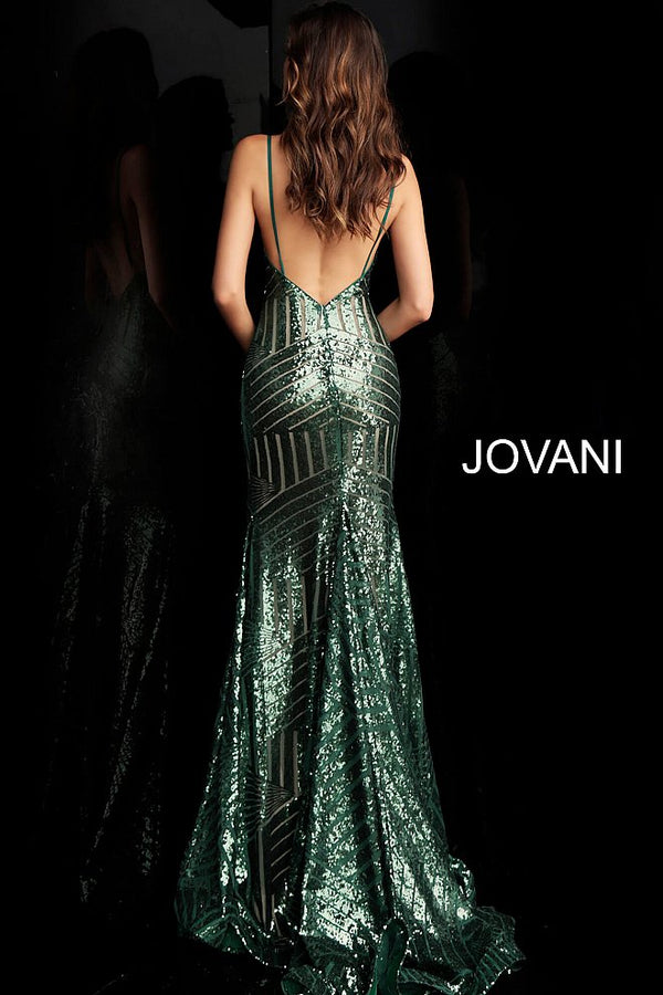 Jovani Hunter Sequin Spaghetti Straps Fitted Prom Dress 65409