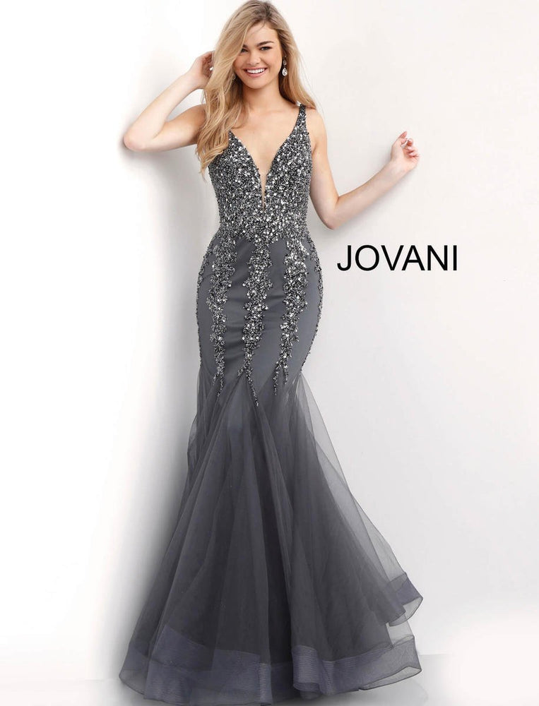 Jovani Charcoal Plunging Neckline Beaded Mermaid Prom Dress 63700