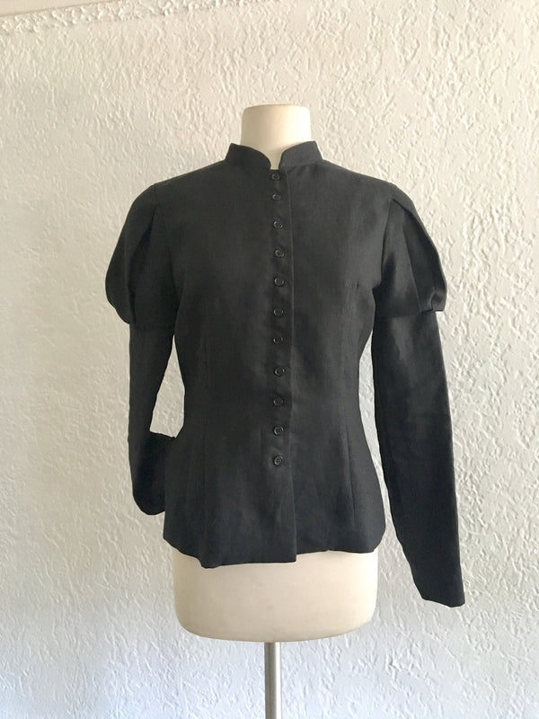 Black Fin de Siècle Jacket in Heirloom Linen