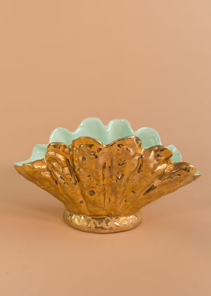 Load image into Gallery viewer, Gold Clam Shell Bowl with Teal Interior