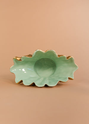 Gold Clam Shell Bowl with Teal Interior
