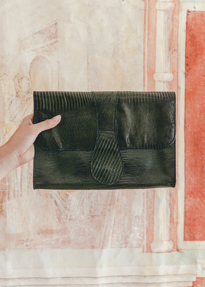Vintage Green Leather Clutch