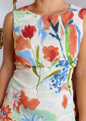 Floral Floor Length Water Color Silk Dress