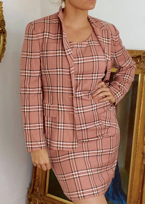 Pink Plaid Dress Suit Set