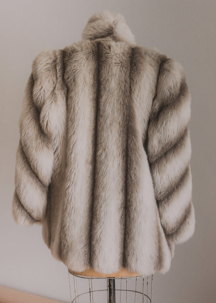 Striped Fur Coat