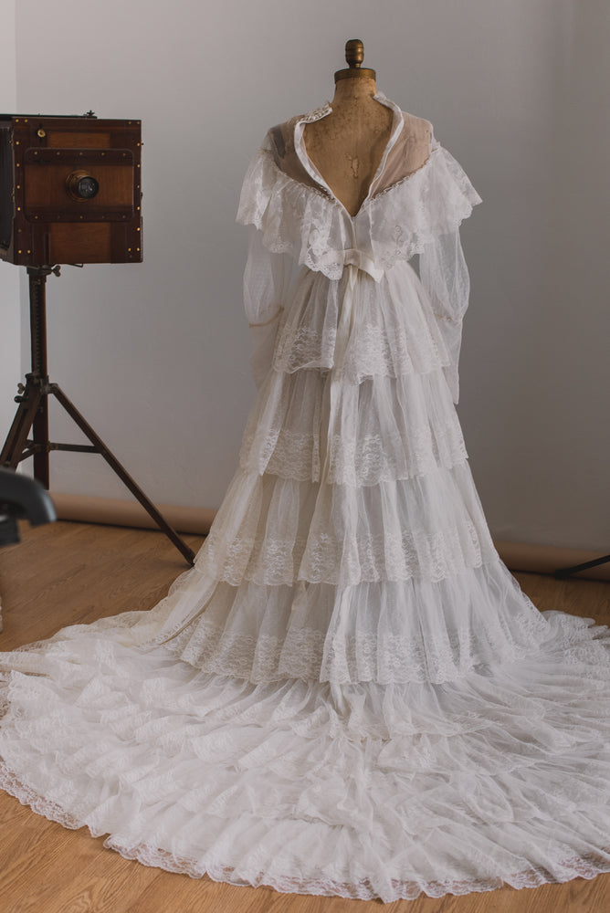 Bohemian 1970s Ruffle Wedding Dress