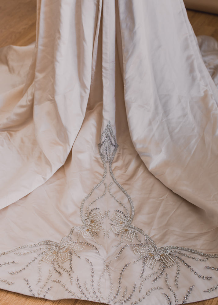 Luxury Satin with Victorian Beading Wedding Dress