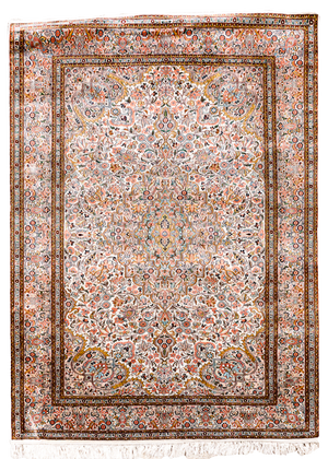100% Silk Peachy Blues Rug