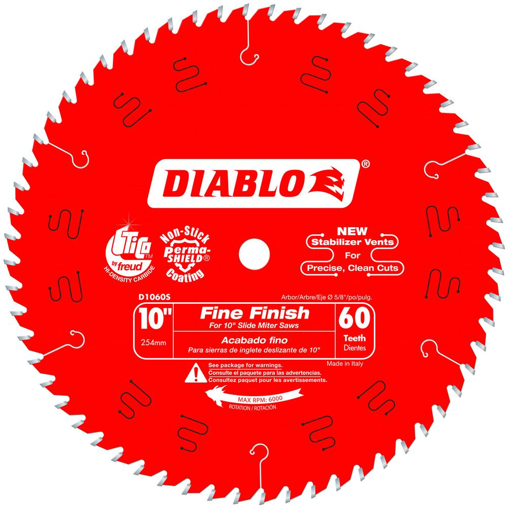 Diablo D1060S 10 in. x 60 Tooth Fine Finish Slide Miter Saw Blade D1060S